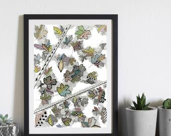 Leaves, Autumn, Art, Zentangle Art, Gift