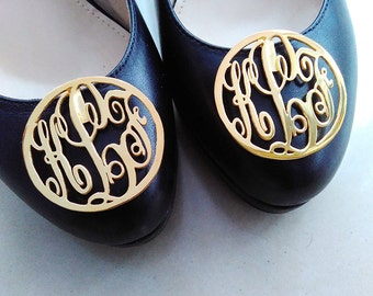 """Personalized Monogrammed Shoe Clip,Gold Monogrammed Shoe Clip,Monogram Inspired Shoe Clips,1.5"""" inch Monogrammed Gifts,Custom Gift For Mom"""