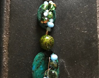 Haley's Comet Wire-Wrap Pendant - Handmade Gifts for Her - Turquoise and Green Stone with Copper Accents