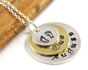 Due Date Necklace, Pregnancy Jewelry, Gift for Expecting Mommy, Silver, Gold, Stamped Jewelry