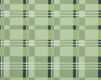 1940s Vintage Wallpaper by the Yard - Plaid Vintage Wallpaper of Green and Black