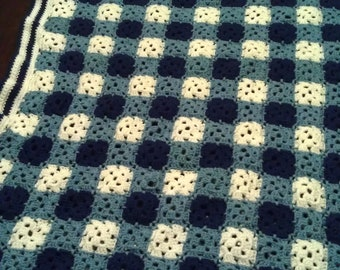 Blue Amish Square Afghan