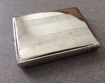 Mid-century era case made from solid sterling silver / 925 / Hallmarked / Case / Vesta / Cigarette or Card Case / Vintage