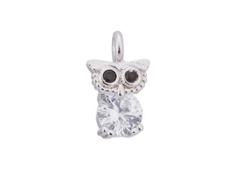 2pcs Silver Cute Night Owl, Bird, Animal Kingdom Women Girl DIY Craft Cubic Zirconia Bracelet Charm Bead Findings Pendant For Jewelry Making