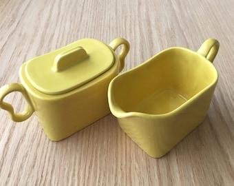 Franciscan Tiempo yellow sugar bowl and creamer set 1950s rare color