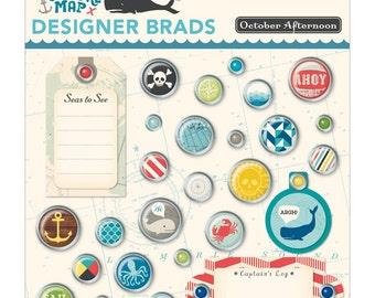 October Afternoon~Treasure Map Designer Brads 28/Pkg