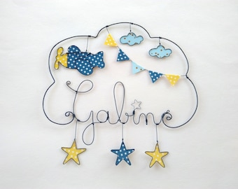 "Name personalized wire ""plane under a star puile"" wall decor for child's room"