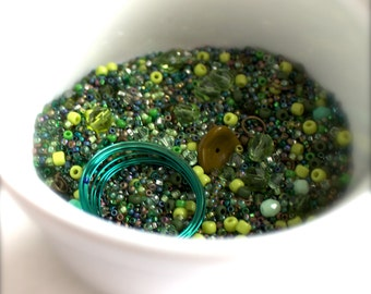 Greens destash Bead Mix #60- 50 grams - Faceted Glass, Flower Bead, Wire, Seed Beads