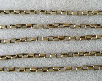 Antique Bronze Long Box Link Chain 5mm x 3.5mm Nickel and Lead Free 394