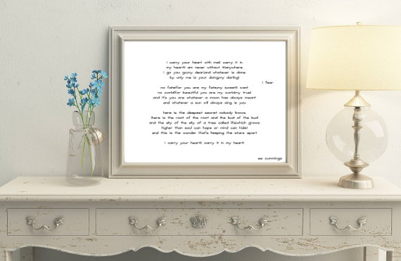 i carry your heart wall art wedding poem print poetry quote