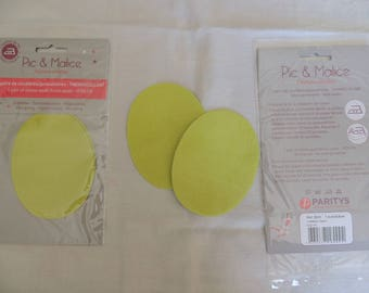 1 pair of elbow/knee pads on yellow green clothing