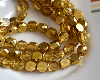 Old Gold 10mm Faceted Fire Polish Coin Beads  25