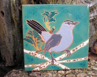 Cat Bird tile,-CUSTOM ORDER -allow 4-6 wks production time- Arts and Crafts, , Birders, Kitchen,Bath, Fireplace Surround, or Framed
