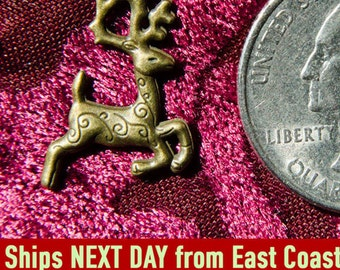 Reindeer charms, 10 pieces, antique bronze color, Christmas, RTS