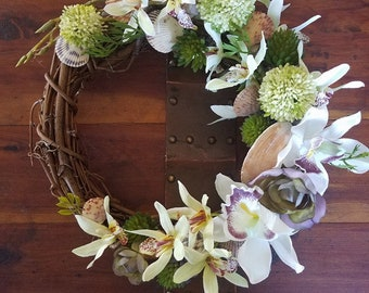 Seashell and Orchid Wreath