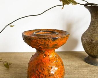 Vintage 60-70s Carstens Tönnieshof orange lava glazed candle holder from West Germany