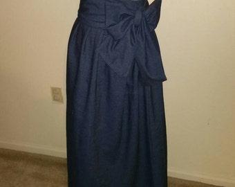 Denim high waist maxi skirt