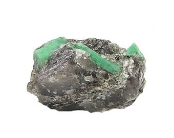 Emerald in quartz rock matrix, Genuine green gem Crystals, Natural Authentic Precious Gemstone, Collector's Choice