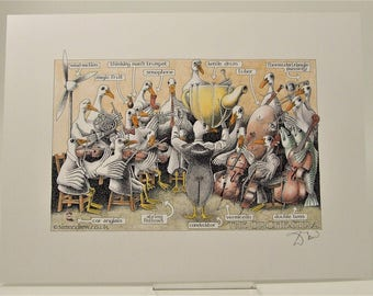Simon Drew The Orchestra LARGE print signed art BNIB Humorous musician lawyer husband man solicitor barrister wife lover conductor art gift