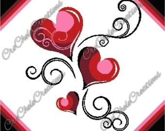 Heart Swirls Graphgan 350x286***PATTERN ONLY***PDF File***Crochet Tunisian