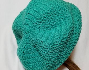 Crochet Minty Green Slouchy Hat - Adult - Crochet Slouch Hat - Turquoise - Crochet Turquoise Hat - Crochet Slouchy Hat - Green Slouch Hat