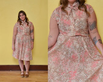 70s Calico Floral Print Sun Dress Pastel Pink Cream Button Up Full Skirt Dress Spring Dress Hippie Boho Necktie Dress Plus Size Midi Dress