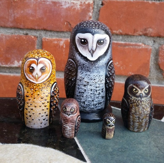 Owls of Australia on the Set of Five Russian Nesting Dolls.  Hand Painted.  Small.