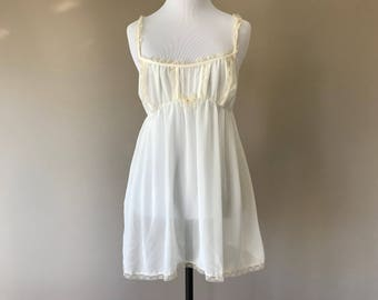 L / Victoria's Secret Babydoll Nightie Lingerie / Sheer White Chiffon with Lace / Large / FREE USA Shipping