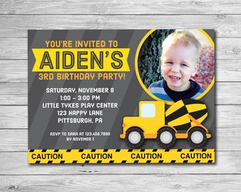 Construction Birthday Invitation Printable Boys Birthday Invite Cement Truck with Photo