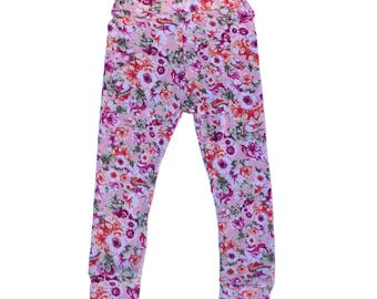 Pink Floral Cuffed Leggings - kid leggings - Handmade Toddler leggings - Girl leggings - Baby Toddler Kid - spring