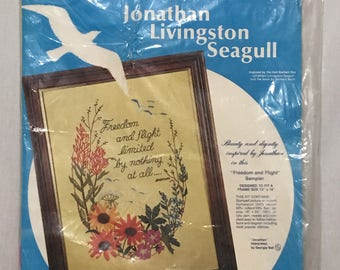 "Jonathan LIvingston Seagull Crewel Kit ""Freedom & Flight"" Sampler Kit 12"" x 16"" Paragon Needlecraft Kit Inspirational Vintage Supply 1973"