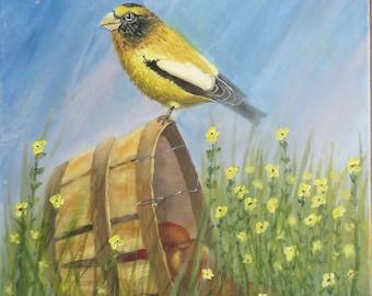 Bird Painting, Bird Art, Wildlife Painting, Original Fine Art Acrylic Painting, Evening Grossbeak