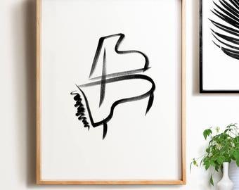 Abstract Decor PRINTABLE wall art, Modern Decor, Grand Piano, Minimalist Art, Brushstroke Art, Abstract Art, Contemporary Art,Black & white