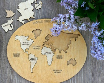 World map puzzle etsy wooden world map puzzle intellectual kids table game educational gift for childrens world continents puzzle toddler wooden toy gumiabroncs Images