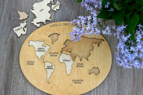 Wooden world map puzzle intellectual kids table game gumiabroncs Choice Image
