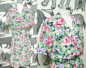 Silky Floral Secretary Dress // 80s Short Sleeve Collared Midi Dress // 1980s Elastic Waistband Casual Day Dress Polyester Size 8 Small