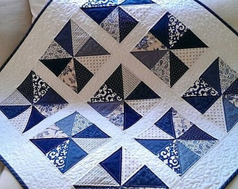 Quilt Pattern PDF Pinwheel Quilt Patterns Beginner Quilt Pattern Baby Quilt Pattern Blue and White Quilt Patriotic Quilt Pattern