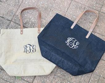 Monogrammed Burlap Tote Bag, Shopping Bag, Go-To Beach Bag, Tote Bag, Large Jute Bag
