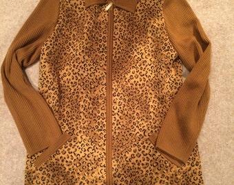 Escada Leopard Animal Print Camel Cardigan Jacket, Gold detail, NEVER WORN!