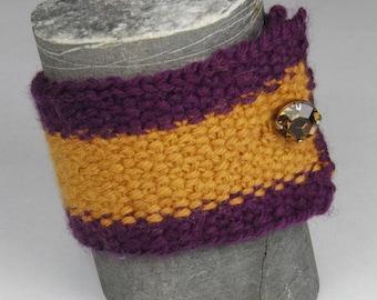 Purple and Gold Knit Cuff