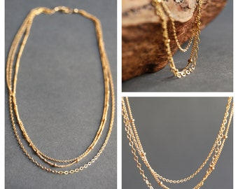 Kaiemi necklace - triple strand necklace, gold necklace, gold filled necklace, delicate gold necklace, gold chain necklace, hawaii jewelry