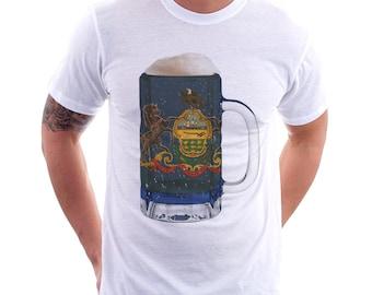 Pennsylvania State Flag Beer Mug Tee, Home State Tee, State Pride, State Flag, Beer Tee, Beer T-Shirt, Beer Thinkers, Beer Lovers Tee