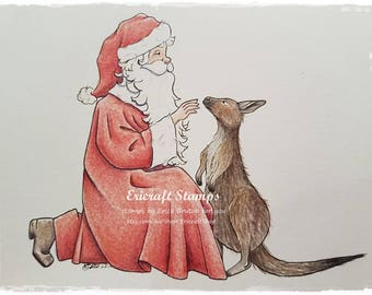 Digital Stamp - Santa and Kangaroo - Jpeg image for cards and crafts by Erica Bruton