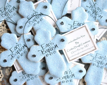 Personalized Baptism Favors Set of 6 Cross Salt Dough Ornaments