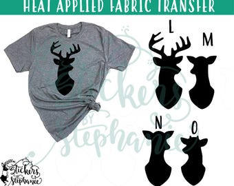 IRON ON v63 Deer Heads Buck Doe Fawn Spike Silhouette Heat Applied T-Shirt Transfer *Color Choice in Notes or BLACK Vinyl 113 Color Options
