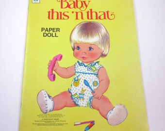 Vintage 1970s Baby This 'n That Paper Doll Book for Children by Whitman