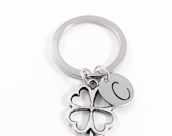 Four leaf clover keychain, Lucky charm keyring, Irish clover, St Patricks Day, wedding bouquet charm, best wishes gift, good luck new job