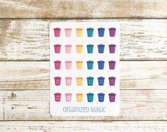 trash and recycling planner stickers, garbage can stickers, rubbish stickers, trash day stickers