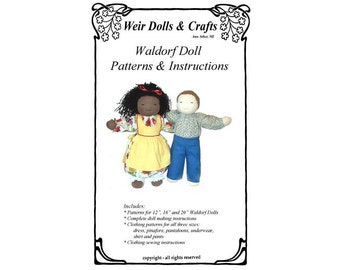 """12"""", 16"""" and 20"""" Waldorf Doll Patterns and Instructions"""