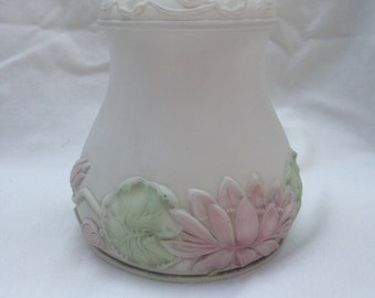 Beautiful embossed reverse painted glass lamp shade